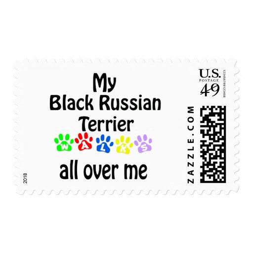 Black Russian Terrier Walks Design Stamp