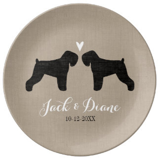 Black Russian Terriers with Heart and Text Dinner Plate