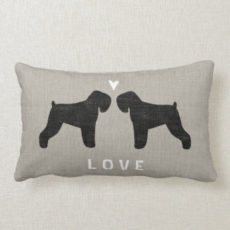 Black Russian Terriers with Heart and Text Lumbar Pillow