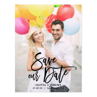 Black Rustic Hand Lettering Photo Save Our Date Postcard