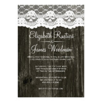 Black Rustic Lace & Barn Wood Wedding Invitations Custom Invitation
