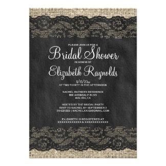 Black Rustic Lace Bridal Shower Invitations Announcement