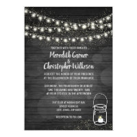 Black Rustic Mason Jar Lights Wedding Invitation