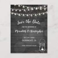 Black Rustic String Lights Wedding Save the Date Announcement Postcard