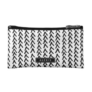 Black Rustic Tribal Pattern Personalized Cosmetic Cosmetic Bag