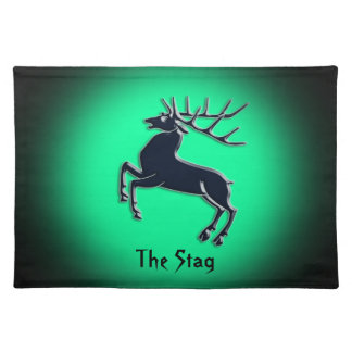 Black Rutting Stag on green spotlight effect Cloth Placemat