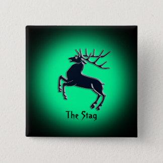 Black Rutting Stag on green spotlight effect Pinback Button