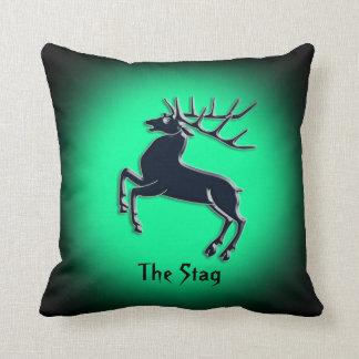 Black Rutting Stag on green spotlight effect Throw Pillow