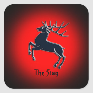Black Rutting Stag on red spotlight effect Square Sticker