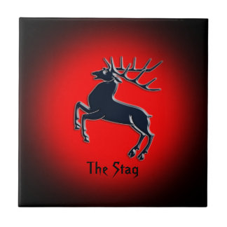 Black Rutting Stag on red spotlight effect Tiles