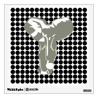 Black Safari Dot with Pop Art Elephant Wall Skin