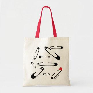 Black safety pin art tote bag