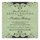 Black & Sage-Green Elegant Bridal Shower Invite