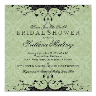 Black & Sage-Green Elegant Bridal Shower Invite Invite