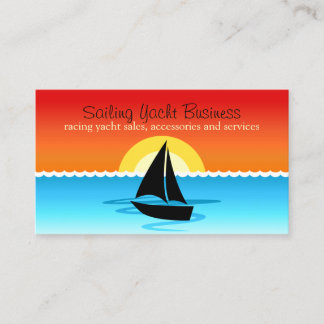 Black Sail Yacht Silhouette Sailing in the Sunset Business Card