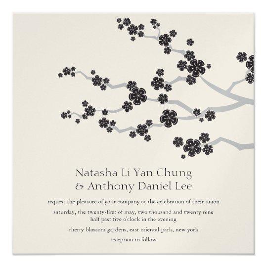 Black Sakura Cherry Blossoms Asian Wedding Invite