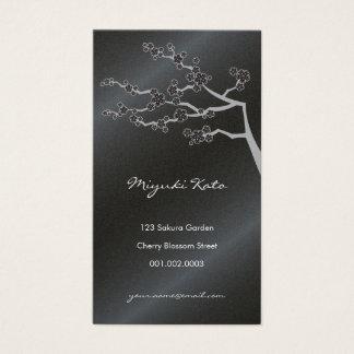 Black Sakura Cherry Blossoms Flowers Oriental Zen Business Card