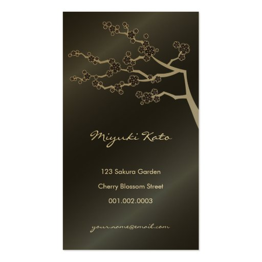 Black Sakura Cherry Blossoms Flowers Oriental Zen Double-Sided Standard Business Cards (Pack Of 100)