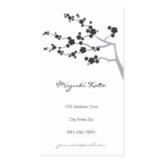 Black Sakura Cherry Blossoms Flowers Oriental Zen Double-Sided Standard Business Cards (Pack Of 100)