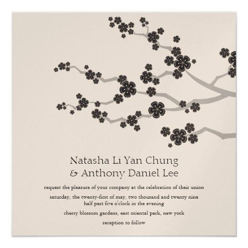 Black Sakura Cherry Blossoms Oriental Zen Wedding  Invitation