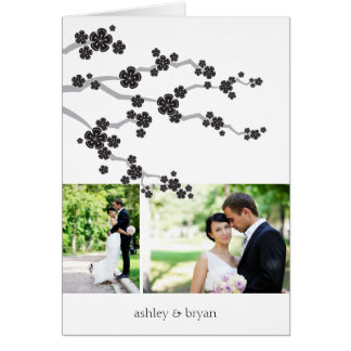 Black Sakura Cherry Blossoms Wedding Thank You Stationery Note Card