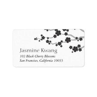 Black Sakura Cherry Blossoms Zen Address Labels