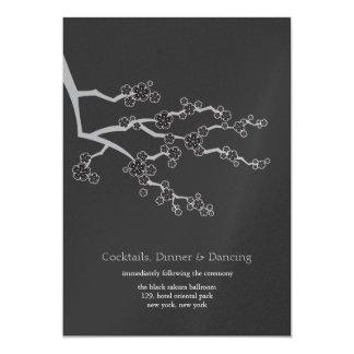 Zen invitations announcements zazzle black sakura cherry blossoms zen wedding reception card stopboris Gallery