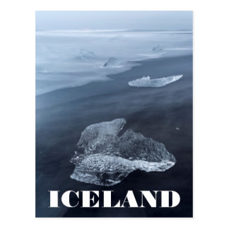 Black sand beach and ice, Iceland Postcard