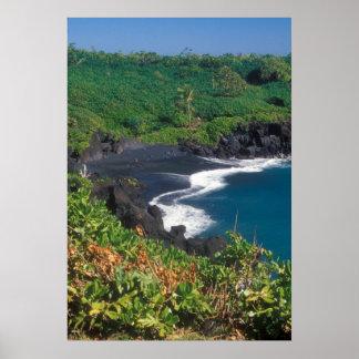Black Sand Beach Hana Maui Hawaii Poster