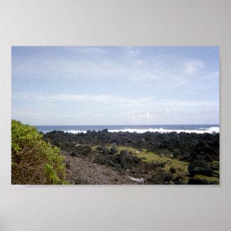 Black Sand Beach, Hana, Maui, Hawaii Poster