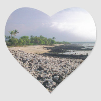 Black Sand Beach in Hawaii Heart Sticker