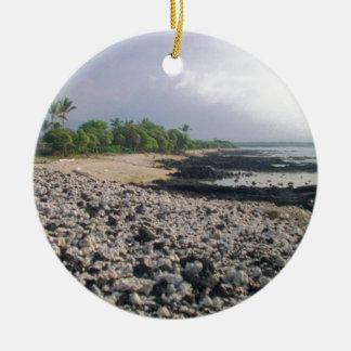 Black Sand Beach in Hawaii Christmas Ornament