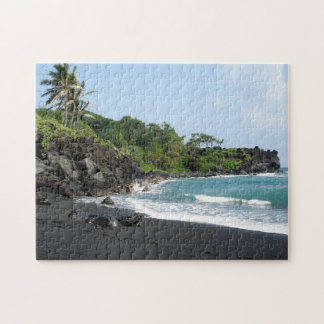 Black sand beach on Hawaii jigsaw puzzle