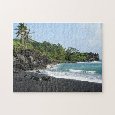 Beach Themed Black sand beach on Hawaii jigsaw puzzle