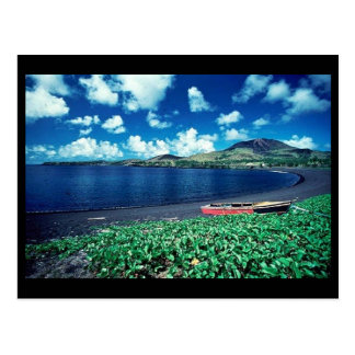 Black sand beach postcard