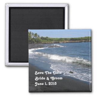 Black Sand Beach Save The Date Magnet