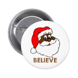 Black Santa Pinback Button
