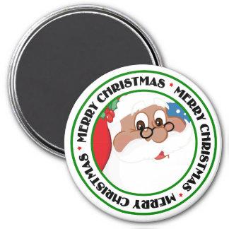 Black Santa Cartoon (Blue) 3 Inch Round Magnet