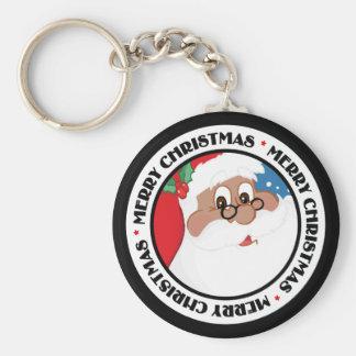 Black Santa Cartoon (Blue) Keychain