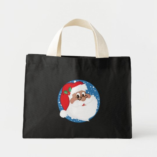 Black Santa Cartoon (Blue) Mini Tote Bag