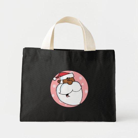 Black Santa Cartoon (Pink) Mini Tote Bag
