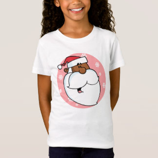 Black Santa Cartoon (Pink) T-Shirt