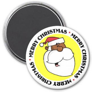 Black Santa Claus 3 Inch Round Magnet