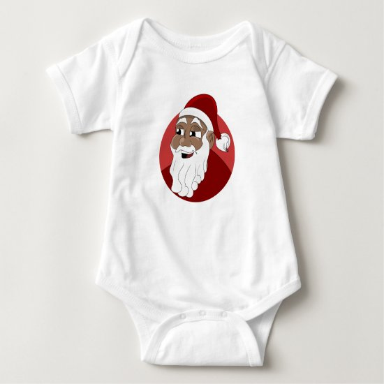 Black Santa Claus Cartoon Baby Bodysuit