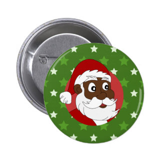 Black Santa Claus Cartoon Button