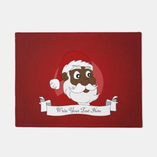Black Santa Claus Cartoon Doormat