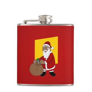 Black Santa Claus Cartoon Hip Flask