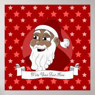 Black Santa Claus Cartoon Print