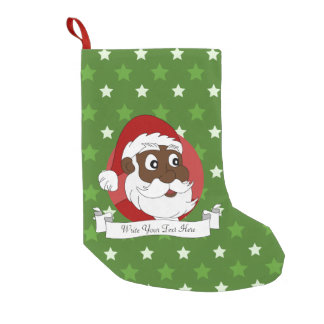 Black Santa Claus Cartoon Small Christmas Stocking