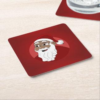Black Santa Claus Cartoon Square Paper Coaster